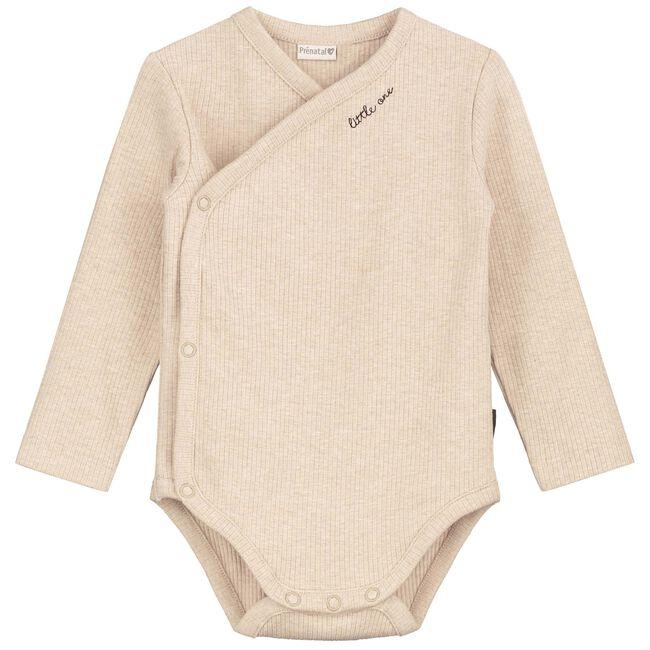 Prenatal newborn unisex romper rib - Sandbrown
