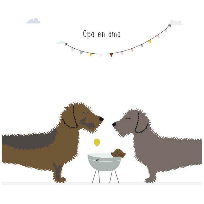 Wenskaart teckel Frits 'Opa en Oma' - White