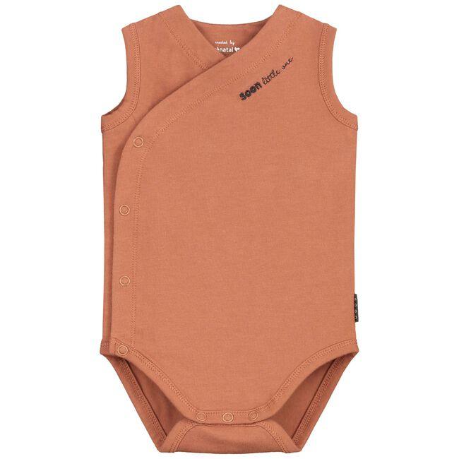 Prenatal newborn unisex romper - Orange Brown