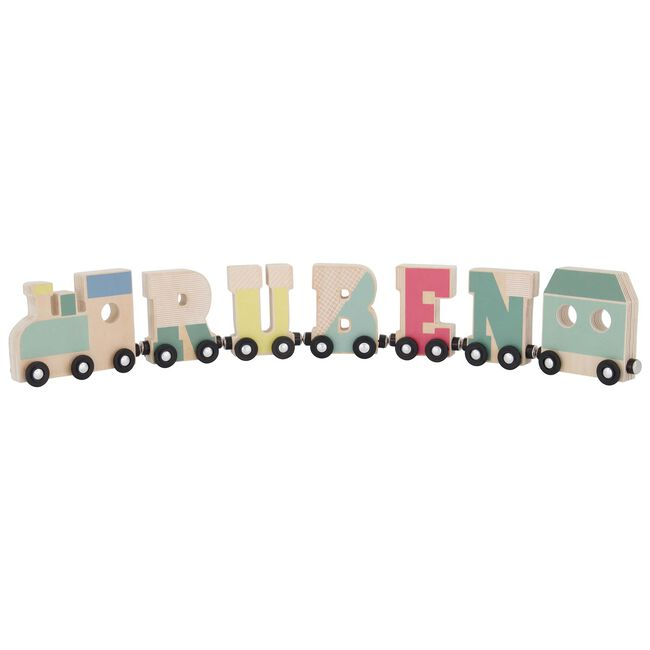 Prénatal houten namentrein wagon - Multi